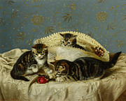 Tablecloth Paintings - Kittens up to Mischief by HH Couldery