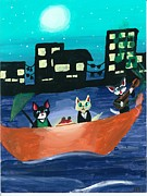 Kitty Cat Prints - Kitties in Italy Print by Shelby Mc Sweeney