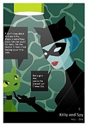 Comic Prints - Kitty and Spy Print by Kate Paulos
