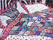 Chihuahua Abstract Art Posters - Kitty Dreams Poster by Jen Kelly Hirai