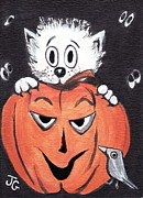 Scared Mixed Media Prints - Kitty Hates Halloween Print by Joyce Gebauer