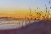Sea Oats Digital Art Prints - Kitty Hawk Daybreak - a restatement Print by Joel Deutsch