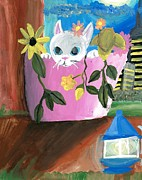 Kitty Cat Prints - Kitty in a Flowerpot Print by Shelby McSweeney