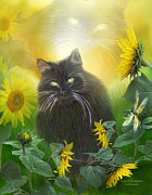 Kitty Mixed Media Prints - Kitty In The Sunflowers Print by Carol Cavalaris