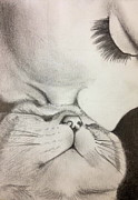 Kisses Drawings - Kitty Kisses  by Katya Wittmer