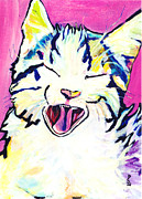Cat Prints Framed Prints - Kitty Kry Framed Print by Pat Saunders-White