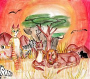 Kitty Cat Prints - Kitty Safari Print by Shelby McSweeney