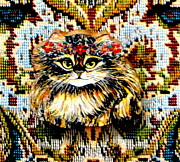 Cat Jewelry Posters - Kitty Wooden Pin Poster by Natalie Holland