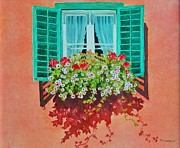 Flower Boxes Paintings - Kitzbuhel Window by Mary Ellen  Mueller-Legault
