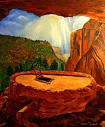 Southwest Indians Paintings - Kiva in Bandelier National Monument by Janis  Tafoya