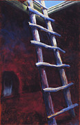 White House Pastels Framed Prints - Kiva Ladder in Bandelier NM Framed Print by Holly Wright