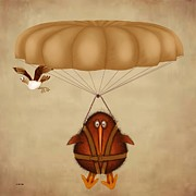 Kiwi Digital Art Prints - Kiwi bird Kev parachuting Print by Marlene Watson