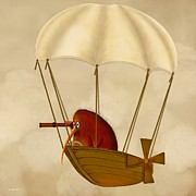 Kiwi Digital Art Prints - Kiwi Bird Kevs Airship Print by Marlene Watson