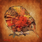 Kiwi Digital Art Prints - Kiwi bird Print by Marlene Watson