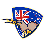 New Zealand Digital Art - Kiwi Bird New Zealand Flag Shield Retro by Aloysius Patrimonio
