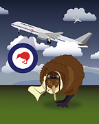 Kiwi Digital Art Prints - Kiwi Flightless Print by Megan Brown
