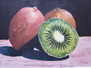 Kiwi Painting Prints - Kiwis Print by Pat Vickers