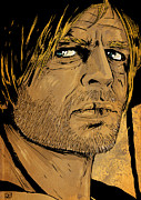Western Drawings Posters - Klaus Kinski Poster by Giuseppe Cristiano