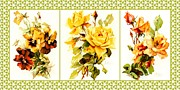 Catherine Mixed Media Prints - Klein Floral Collage Print by Pauline Black