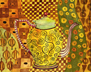 Kitchen Watercolor Paintings - Klimt Style Teapot Blenda Studio by Blenda Studio