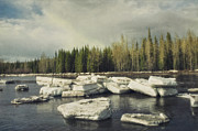 Texture Landscapes Posters - Klondike River Ice Break Poster by Priska Wettstein
