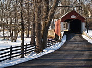 Bucolic Scenes Photos - Knechts Bridge on Snowy Day - Bucks County by Anna Lisa Yoder