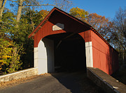 Springfield Framed Prints - Knechts Covered Bridge in October in Bucks County PA Framed Print by Anna Lisa Yoder
