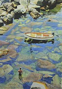 Riomaggiore Paintings - Knee deep in Riomaggiore Harbour by Graham Clark