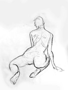 Hip Drawings - Kneeling Female Nude by Adam Long