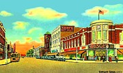 Historic Architecture Paintings - Knepps And Kresges Stores On Washington Av. In Bay City Mi 1940 by Dwight Goss
