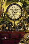 Knick Knacks Posters - Knick Knacks Clock and Red Dresser Poster by Lynn Palmer