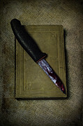 Bloody Framed Prints - Knife With Book Framed Print by Joana Kruse