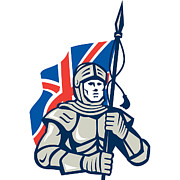 Fantasy Digital Art - Knight British Flag Retro by Aloysius Patrimonio