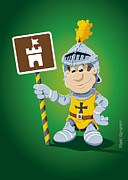 Ramspott Prints - Knight Cartoon Man Castle Sign Print by Frank Ramspott
