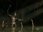 Knight In A Haunted Swamp Print by Daniel Eskridge