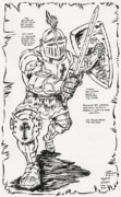 Thor Drawings Acrylic Prints - Knight in Armor tribute to Jack Kirby Acrylic Print by Matt Molleur