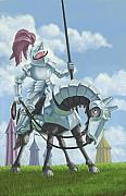 Knight In Shining Armour On Horesback Print by Martin Davey