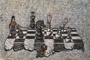 Chess Mixed Media Posters - Knight Takes Queen Poster by Andrew Pierce