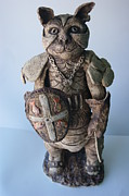 Cat Sculpture Posters - Knight Tom Cat in shinning Armor Poster by Susan  Brown  Slizys artist name
