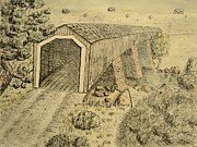 Covered Bridge Drawings Posters - Knights Ferry Bridge Poster by Bob Rowell