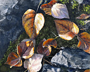 Alaskan Paintings - Knik River Autumn Leaves by Karen Whitworth