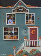 Autumn Folk Art Paintings - Knit Wit Yarn Shoppe by Catherine Holman