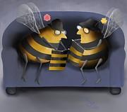 Knitting Bees Print by Marlene Watson