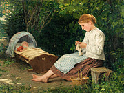 Famous Artists - Knitting girl watching the toddler in a craddle by Albert Anker