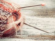Needle Photo Prints - Knitwork with Needles Print by Wim Lanclus