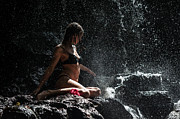 Model Release Prints - Knowledge. Anna at Eureka Waterfalls. Mauritius Print by Jenny Rainbow
