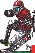 Sports Art Drawings Posters - Knowshon Moreno Poster by Jeremiah Colley