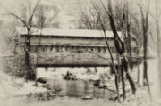 Stream Digital Art Prints - Knox Valley Forge Covered Bridge Print by Bill Cannon