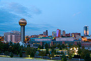 Tennessee Landmark Prints - Knoxville at Dusk Print by Melinda Fawver