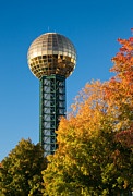 Tennessee Landmark Prints - Knoxville Sunsphere in Autumn Print by Melinda Fawver